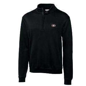 NCAA Men's Georgia Bulldogs Black Journey Supima Flatback Half Zip Jacket, XX-Large