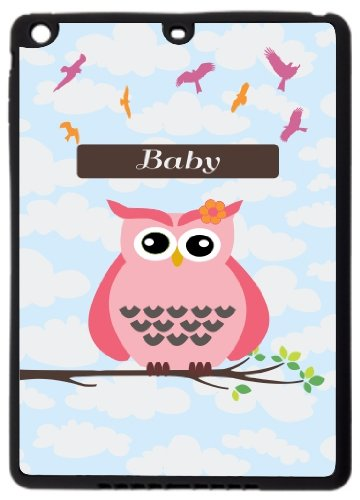 "Rikki Knighttm ""Baby"" Name - Cute Pink Owl On Branch With Personalized Name Ipad Air Smart Case For Apple Ipad® Air - Full Coverage Ultra-Thin Smart Cover With Automatic Wake And Sleep And Facetime, Movie, And Keyboard Stand front-647046"