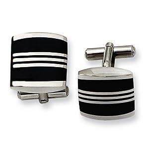 Stainless Steel Enameled Cuff Links - JewelryWeb