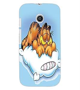 ColourCraft Funny Cartoon Cat Design Back Case Cover for MOTOROLA MOTO E