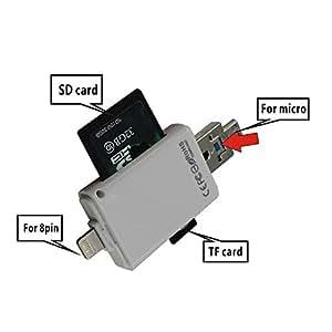 【PCATEC】 Lightning&microUSB&USB 全対応 Lightning&microUSB to i-FlashDrive Mirco SD/SDカードリーダー For [iOS9対応]新型iPad air/air2/iPadmini1/2/3/iPhone6/6plus/5/5C/5S & Samsung galaxy series