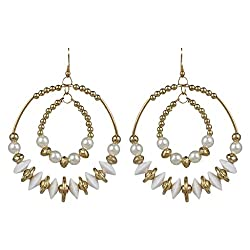 Indian Tribal Theme White & Gold Earrings By Lazreena