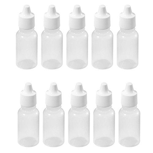 Sodial(R) 10 Pcs 10 Ml 1/3 Oz Ldpe Plastic Childproof Dropper Bottles Oil Lotion