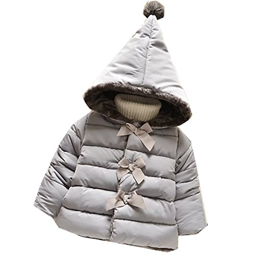 Baby Girl Bowknot Hooded Down Jacket Coat Cotton Winter Warm Outerwear