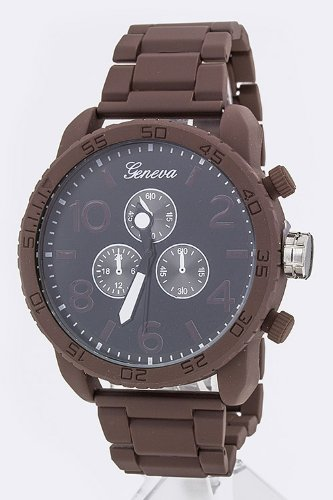 Trendy Fashion Jewelry Unisex Large Dial Bracelet Watch By Fashion Destination | (Brown)