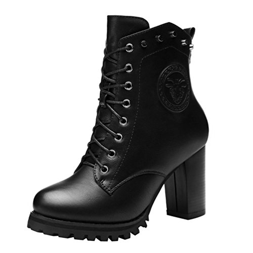 fq-real-womens-rivets-studded-lace-up-zipper-chunky-heel-platform-ankle-booties-55-ukblack