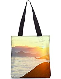 Snoogg Clouds On Hill Top Digitally Printed Utility Tote Bag Handbag Made Of Poly Canvas