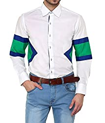 Dazzio Men's Slim Fit Cotton Casual Shirt (DZSH0151_Grey_42)