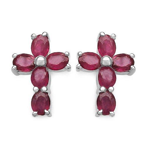 2.50 Carat Genuine Ruby Cross Shape Sterling Silver Earrings