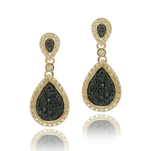 18K Gold over Sterling Silver Black Diamond Accent Teardrop Dangle Earrings