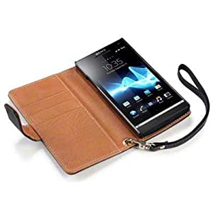 Sony Xperia S LT26i Premium PU Leather Wallet Case / Cover / Pouch / Holster - Black/Tan Part Of The Qubits Accessories Range