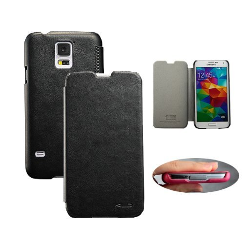 Moon Monkey Well-Selected Lightweight Slim Folio Protective Leather Case For Samsung Galaxy S5 (Black)