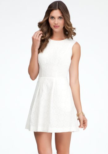 bebe Embroidered Eyelet A-line Dress Day Dresses White-2