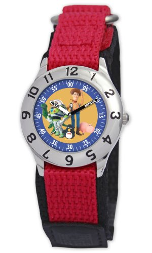 Disney Kids' D014S505 Toy Story Time Teacher Red Velcro Watch