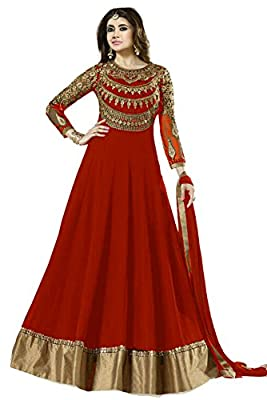 Janasya Women's Georgette Semi Stitched Dress Material (HS-DR-007-RED.B_Red)