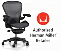 Hot Sale Herman Miller Aeron Chair Highly Adjustable with PostureFit Lumbar Support with C7 Hard Floor Casters - Large Size (C) Graphite Dark Frame, Waves Platinum Pellicle Suspension Material Home Office Desk Task Chair