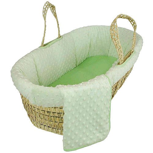 Tadpoles Dimple Velour Moses Basket Set Green