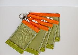 sugarSNAP Files A Set of 5 Mesh Diaper Bag Organizer Inserts green+orange