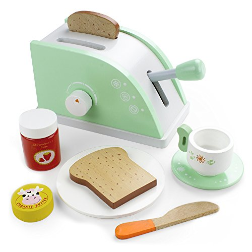 Wood Eats! Pop-Up Toaster Playset with Butter, Jam, and Coffee Cup (10pcs.) by Imagination Generation (Toaster Cut compare prices)
