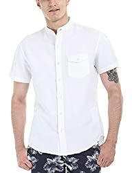 Zobello Men's Madarin Collar Linen Shirt(11087G_Solid White_X-Large)