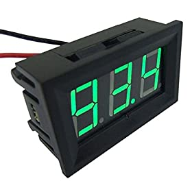 "DROKu00ae 0.56"" DC 100A Ammeter Green LED Digital Current Ampere Panel Meter 0-99.9A Current Monitor Tester with 100A / 75mV Shunt Resistor"
