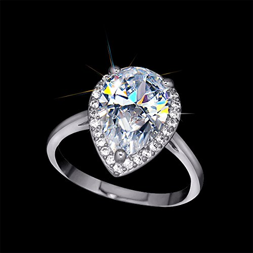 UMODE Jewelry Halo 4 Carat Teardrop Pear Cut Cubic Zirconia CZ Engagement Wedding Ring (White gold color 8)