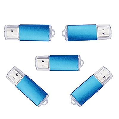 5pcs USB Flash Drive 8G USB Flash 2.0 Metal 8g Memory Pen Stick Bulk Blue