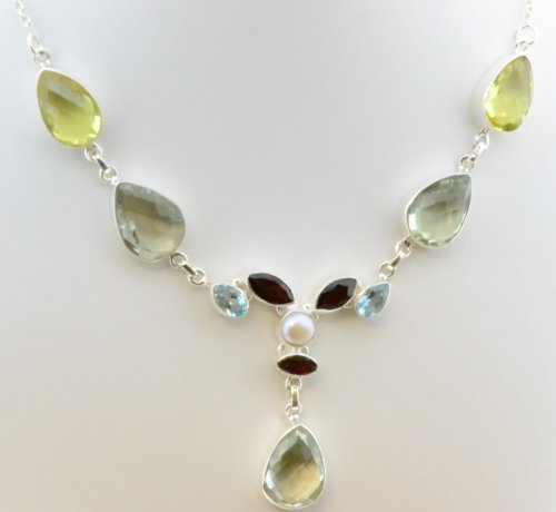 Lemon Quartz, Green Amethyst, Garnet, Blue Topaz, Pearl 925 Silver Jewelry Handmade Necklace