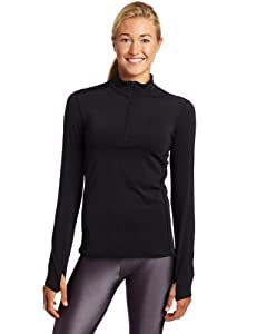 Snow Angel Women's Cybersilk Locking Zip-T Athletic Shirt, Black, Small
