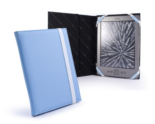 "Tuff-Luv Slim Book-Style Leather Case Cover For Amazon Kindle 4 / Touch / Paperwhite / 6"" E-Ink E-Reader - Light Blue"
