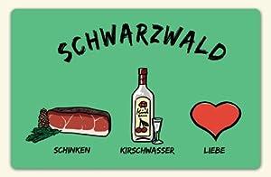 """Kühlschrankmagnet """"Schwarzwald: Schinken-Kirschwasser-Liebe"""" - als Geschenk für Schwarzwälder & Schwarzwald-Fans oder als Schwarzwald Souvenir - die stadtmeister"""