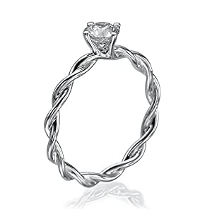 Solitaire Diamond Ring 1/3 ct, H Color, I1 Clarity, Certified, Round Cut, in 14K Gold / White