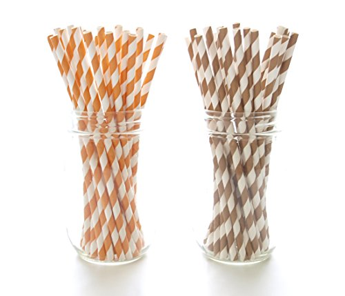 Thanksgiving Party Straws, Orange & Brown Paper Straws (50 Pack) - November Turkey Thanksgiving Dinner Table Party Supplies, Fall Leaf Stripe Straws