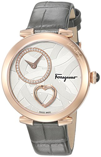 Salvatore-Ferragamo-Womens-Beating-Heart-Swiss-Quartz-Stainless-Steel-and-Leather-Casual-Watch-ColorGrey-Model-FE2050016