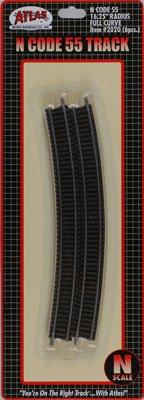 "N Code 55 Nickel Silver 16.25"" Radius Full Section Track (6) Atlas Trains"
