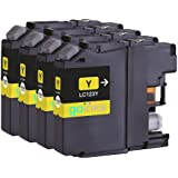 4 Yellow Compatible Brother LC123Y Printer Ink Cartridges for Brother DCP-J132W, DCP-J152W, DCP-J4110DW, DCP-J552DW, DCP-J752DW, MFC-J4410DW, MFC-J4510DW, MFC-J4610DW, MFC-J470DW, MFC-J4710DW, MFC-J650DW, MFC-J6520DW, MFC-J6720DW, MFC-J6920DW, MFC-J870DW