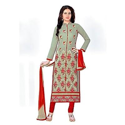 EthnicCrush Women's Cotton Unstitched Embroidered Salwar Kameez(EC3383PRK5638,Green)