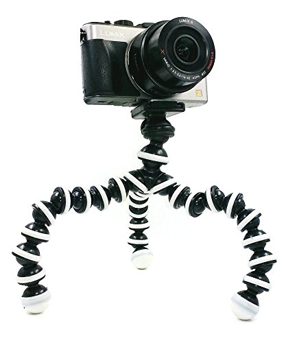 BLISS-M-Size-Octopus-Style-Portable-Flexible-Tripod-Stand-Holder-for-iPhone-DSLR-Camera-Mobile-Cell-Phone-Bendable-Adjustable-Mini-Webcam-Mount-Grey-and-Black