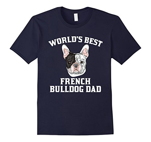 Men's World's Best French Bulldog Dad Dog Owner Graphic T-Shirt Medium Navy (Bulldog Dad compare prices)