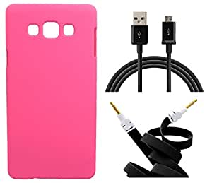 Toppings Hard Case Cover With Aux Cable & Data Cable For Samsung Galaxy Z3 - Pink
