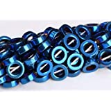 9mm Blue Hematite Rim Halo Circle Grade Natural Gemstone Loose Beads 15.5'' Crafting Key Chain Bracelet Necklace Jewelry Accessories Pendants