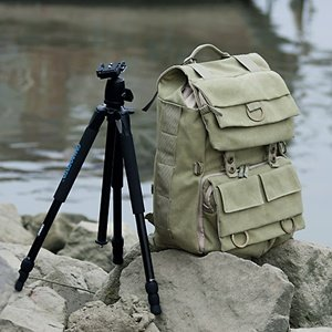 Khaki Green Canvas Outdoor Camera Backpack