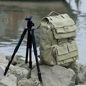Khaki Green Canvas Outdoor Camera Backpack