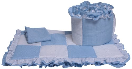 Baby Doll Bedding Gingham Cradle Bedding Set, Blue