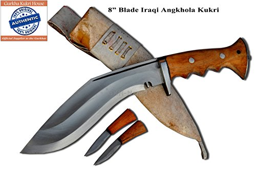 "Authentic Gurkha Kukri Knife - 8"" Blade Iraqi Angkhola Kukri with White Leather sheath-Handmade by Gurkha Kukri House in Nepal-"