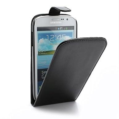 Schwarz Leder Tasche Hülle Samsung Galaxy Grand Duos (GT-i9082) - Flip Case Cover + 2 Displayschutzfolie