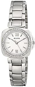 Bulova Women's 96R200 Diamond Gallery Analog Display Japanese Quartz White Watch