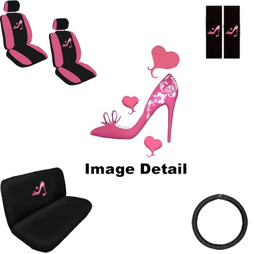 Lady High Heel Shoe w/ Triple Pink Hearts Auto Accessories Interior Car Truck SUV Combo Kit Gift Set - 11PC