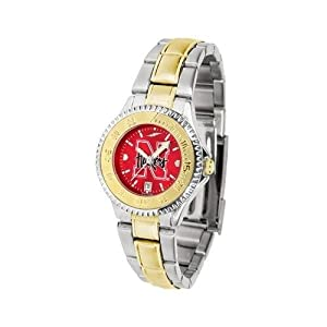 Nebraska Cornhuskers Ladies Stainless Steel and Gold Tone Watch by SunTime