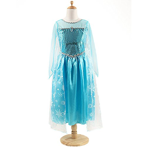 Frozen Elsa Anna Costume Disney Princess Girls Child Fancy Outfit Long Dress Set
